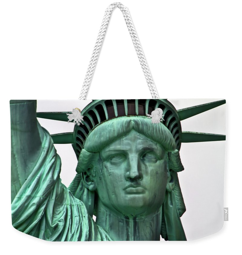 Statue Weekender Tote Bag featuring the photograph Lady Liberty Up Close by Bill Lindsay