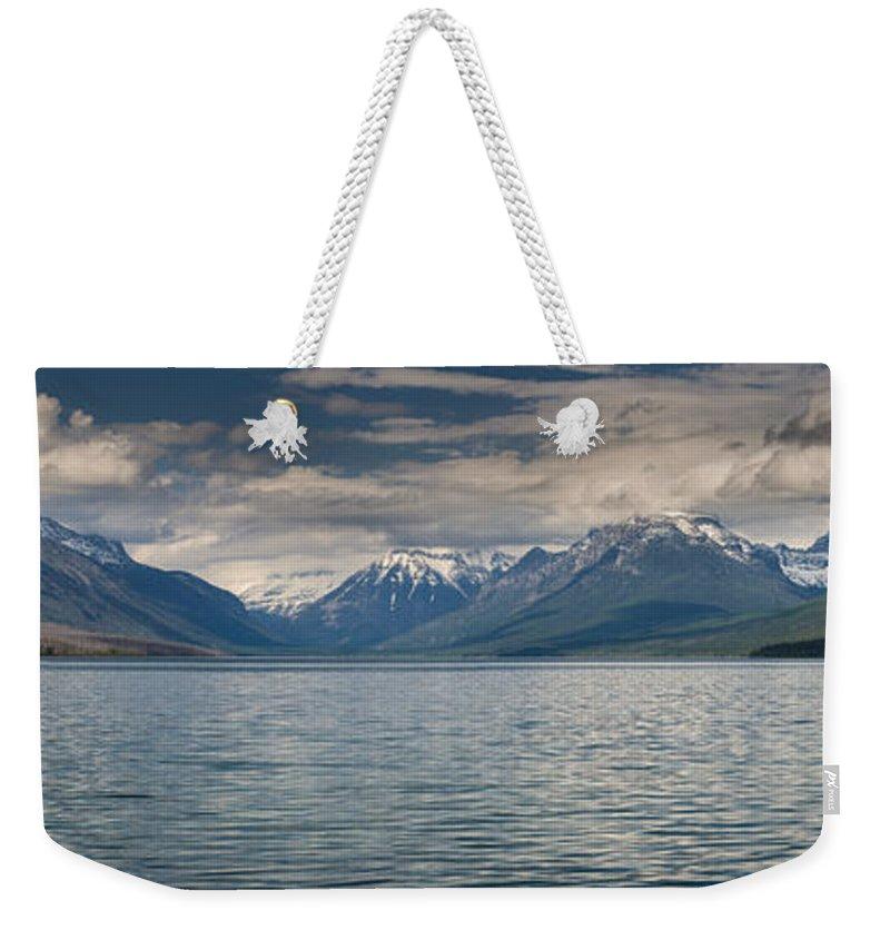 Lake Mcdonald Weekender Tote Bag featuring the photograph Lake Mcdonald Panorama by Greg Nyquist