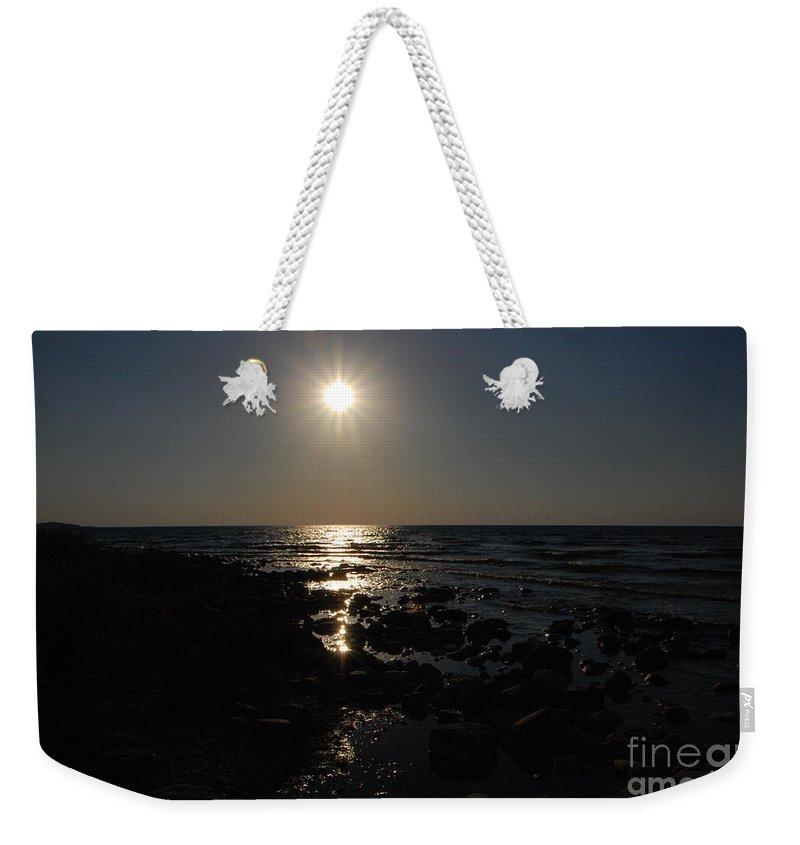 Lake Michigan Weekender Tote Bag featuring the photograph Lake Michigan Sunset by Grace Grogan