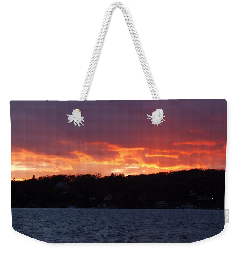 Water Weekender Tote Bag featuring the photograph Lake Sunset by Richard Bryce and Family
