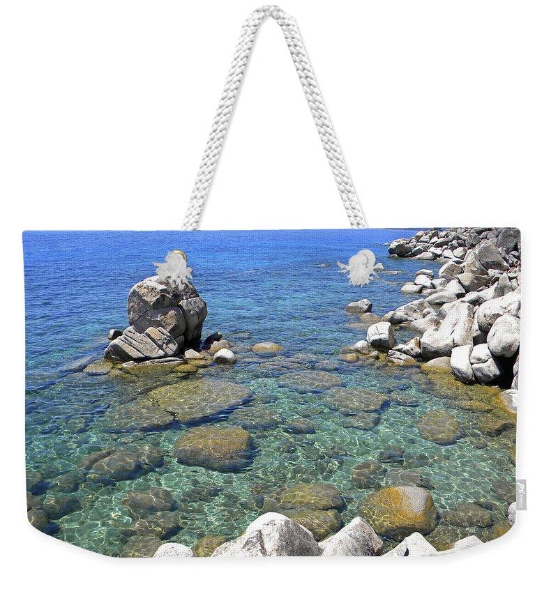 Lake Tahoe Shore Weekender Tote Bag featuring the photograph Lake Tahoe Shore by Frank Wilson