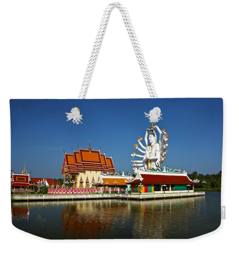 Buddha Weekender Tote Bag featuring the photograph Lake Temple by Adrian Evans