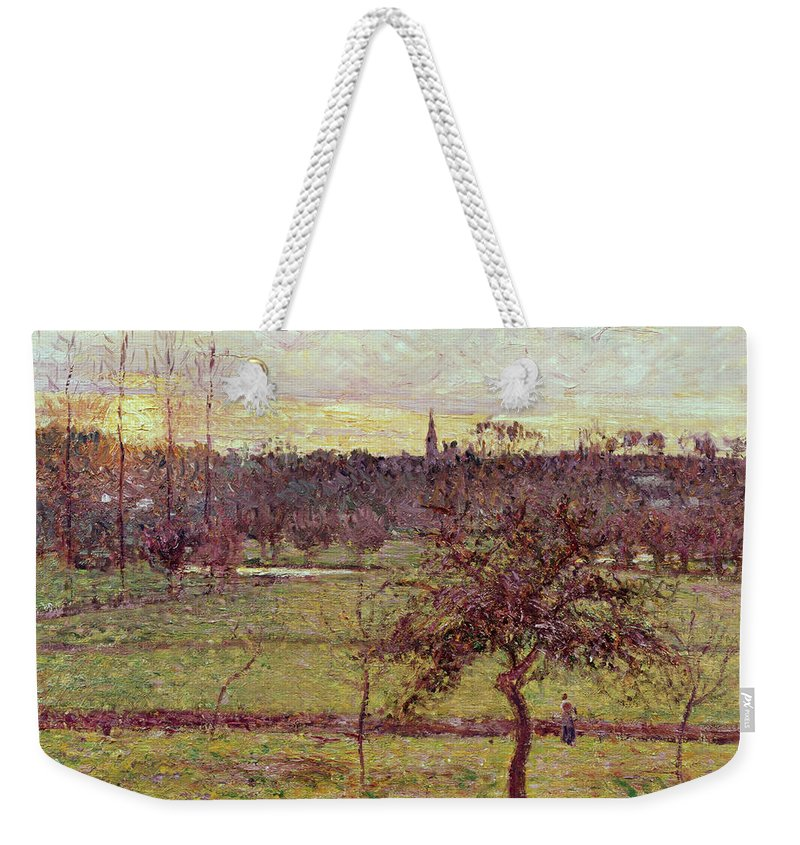 Landscapes Weekender Tote Bag featuring the painting Landscape At Eragny by Camille Pissarro