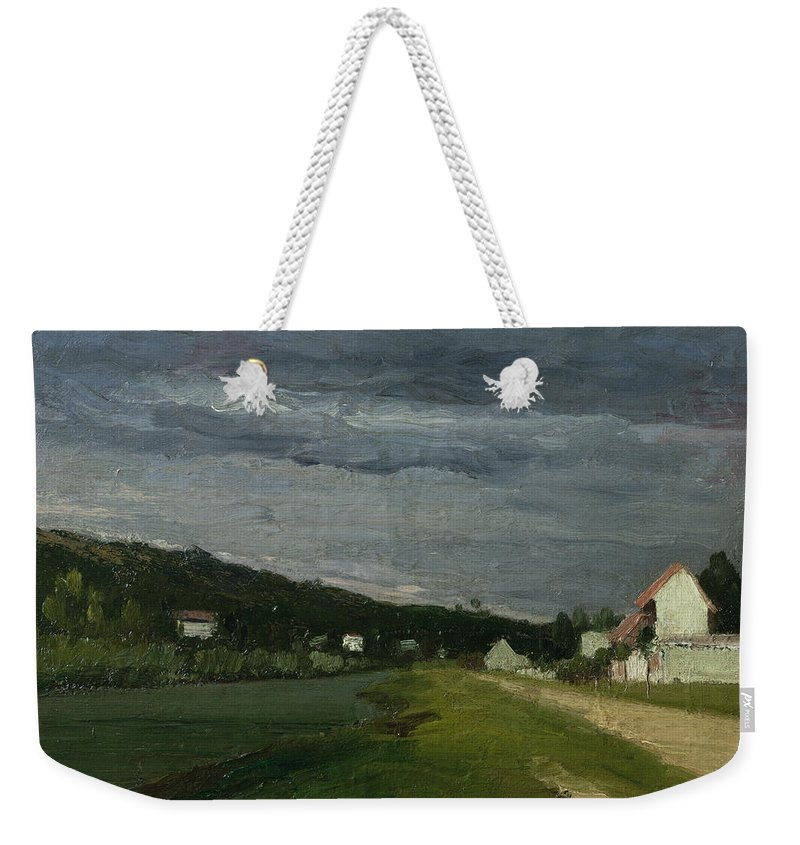 Landscape Weekender Tote Bag featuring the painting Landscape With Stormy Sky by Camille Pissarro