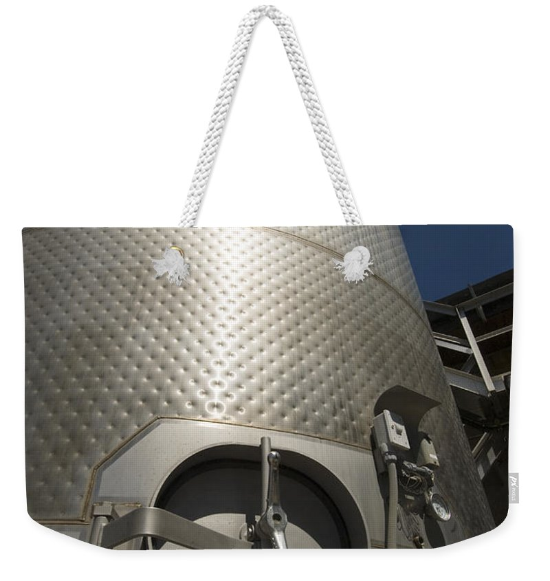 California Weekender Tote Bag featuring the photograph Large Steel Vat For Wine Making by James Forte