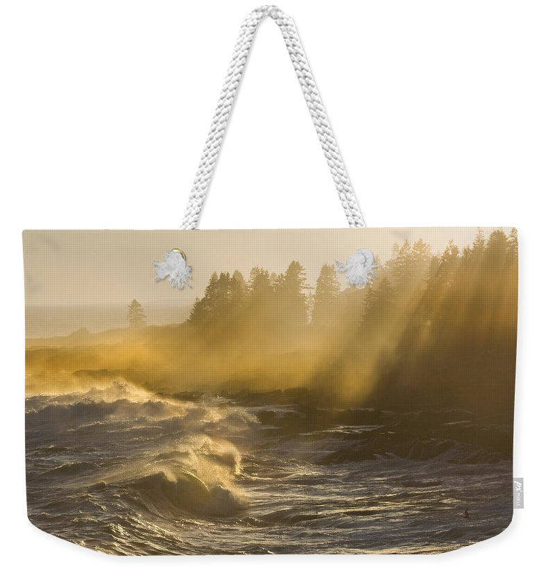 Maine Weekender Tote Bag featuring the photograph Large Waves Lightbeams Pemaquid Point Maine by Keith Webber Jr