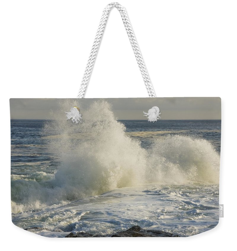 Maine Weekender Tote Bag featuring the photograph Large Waves On Rocky The Coast Maine by Keith Webber Jr