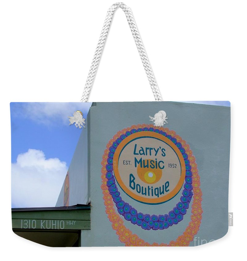 Mary Deal Weekender Tote Bag featuring the photograph Larrys Music Boutique Est 1952 by Mary Deal