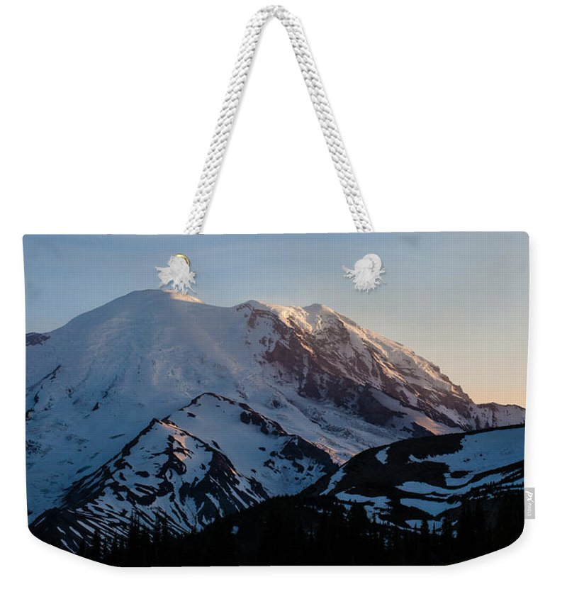 Rainier Weekender Tote Bag featuring the photograph Last Light by Mike Reid