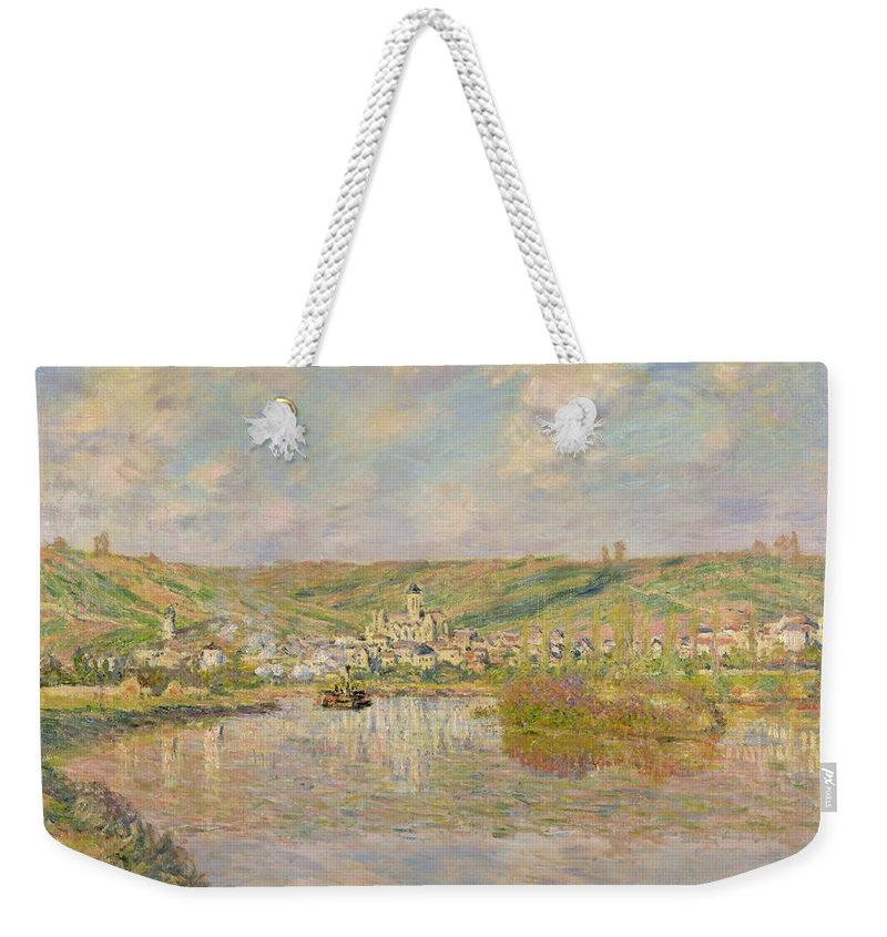 Late Weekender Tote Bag featuring the painting Late Afternoon - Vetheuil by Claude Monet