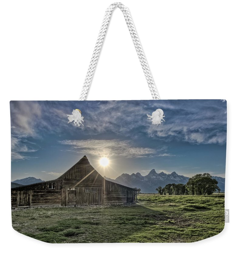 Rockies Weekender Tote Bag featuring the photograph Late Evening At Moulton Barn by Greg Nyquist