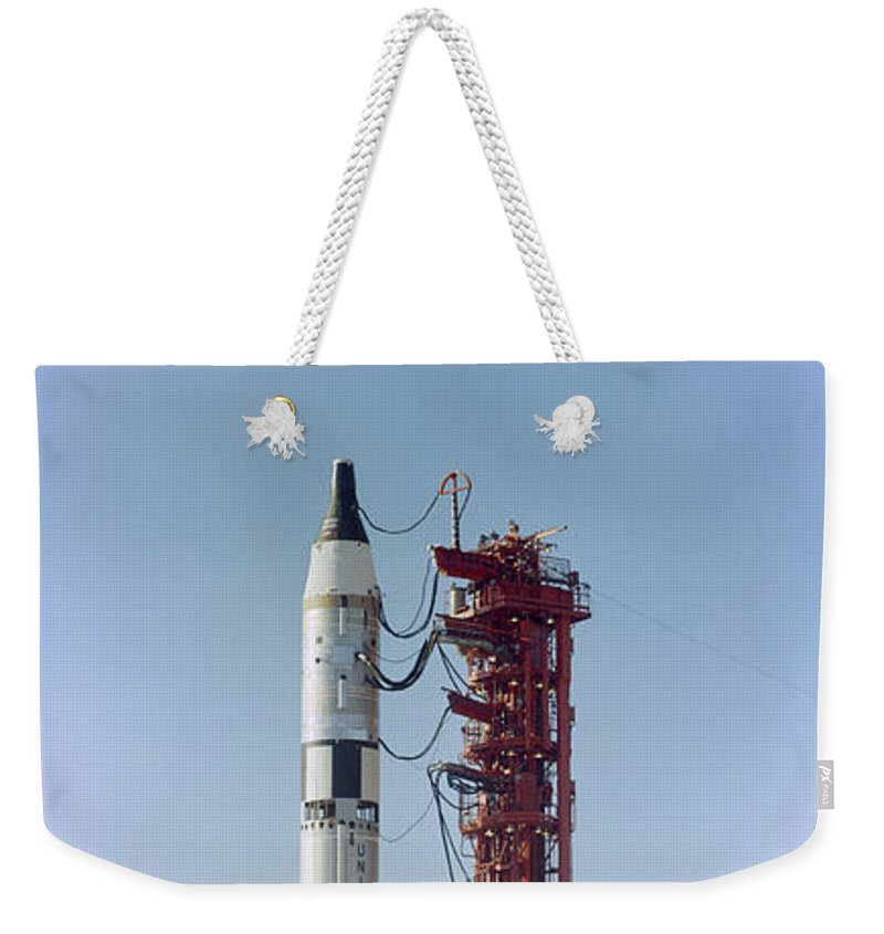 1965 Weekender Tote Bag featuring the photograph Launch View Of The Gemini-titan 3 by Stocktrek Images
