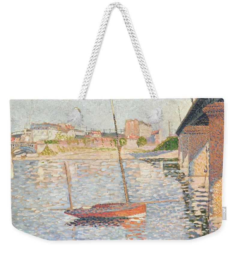 Clipper Weekender Tote Bag featuring the painting Le Clipper - Asnieres by Paul Signac