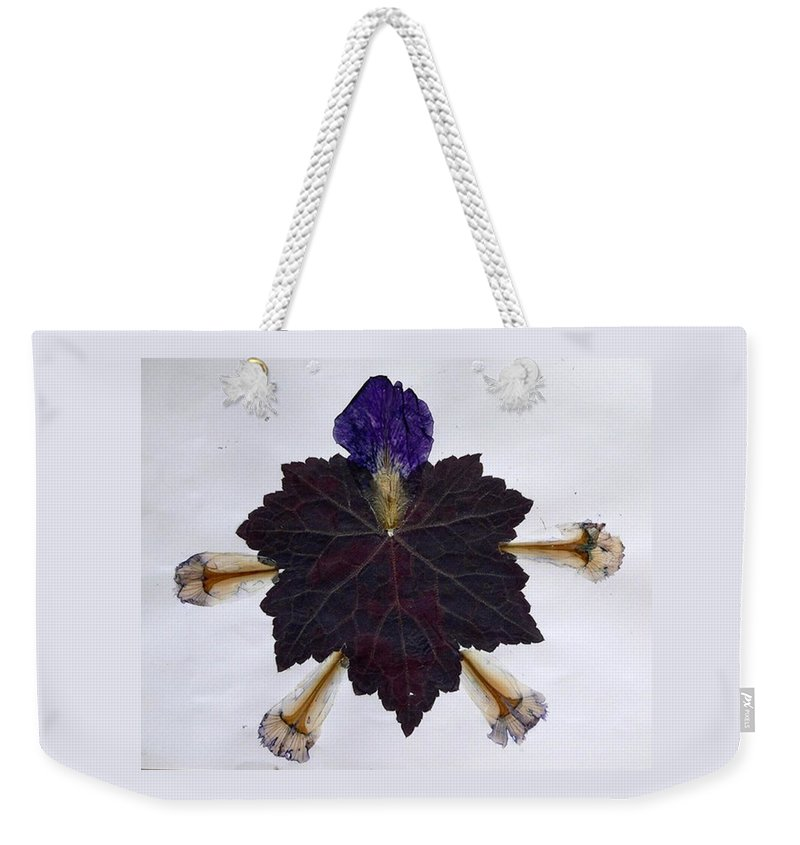 Leaf Pattern Weekender Tote Bag featuring the mixed media Leaf With Petals by Basant Soni