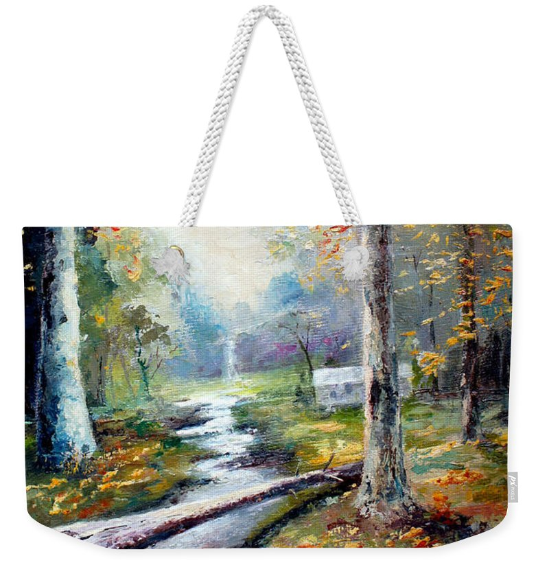 Australian Weekender Tote Bag featuring the painting Leaving The Woodland Creek by Giro Tavitian