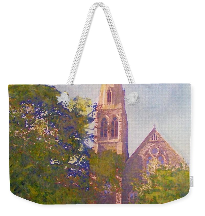 Peebles Weekender Tote Bag featuring the painting Leckie Memorial Church Peebles Scotland by Richard James Digance