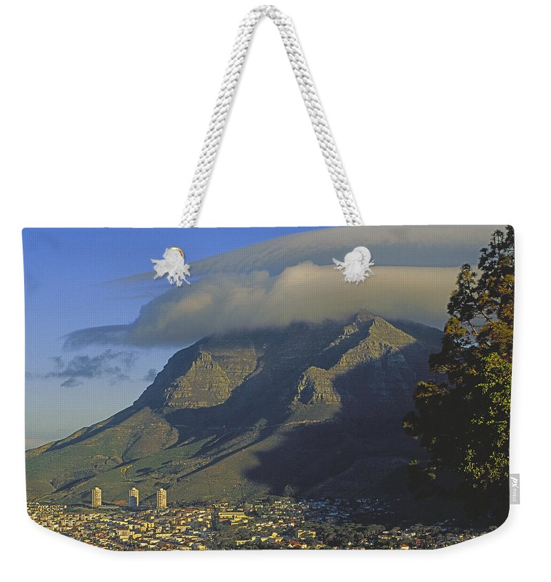 Color Image Weekender Tote Bag featuring the photograph Lenticular Cloud Over Table Mountain by Gordon Wiltsie