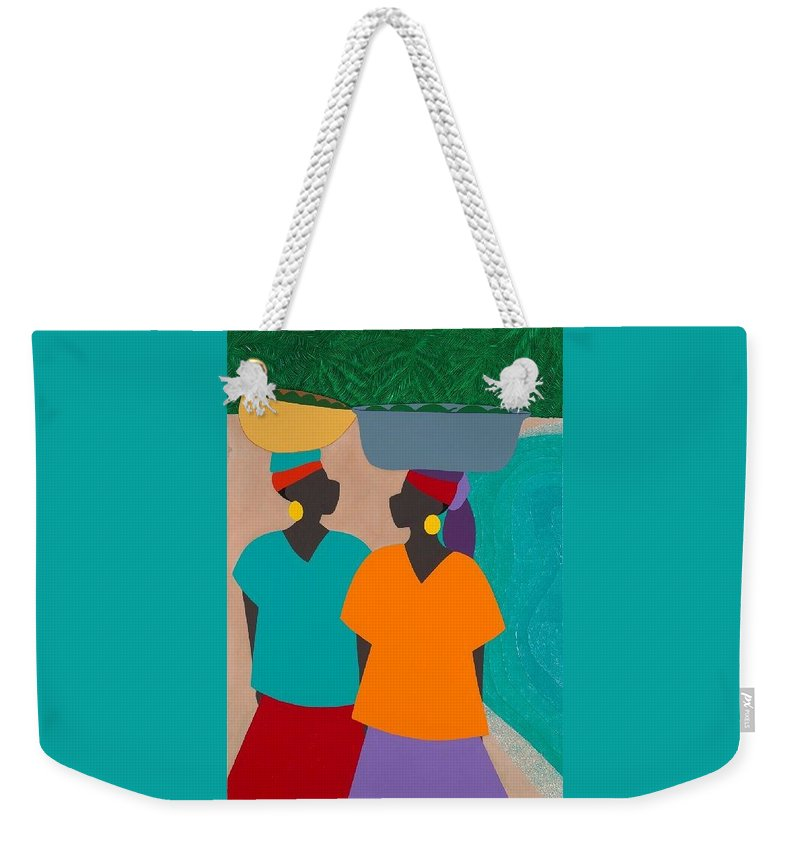 Haiti Weekender Tote Bag featuring the painting Les Femmes by Synthia SAINT JAMES