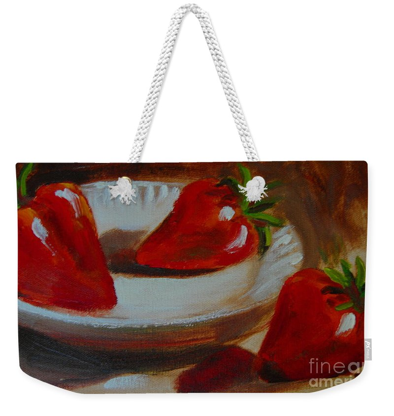 Strawberries Weekender Tote Bag featuring the painting Let Me In by Samantha Black