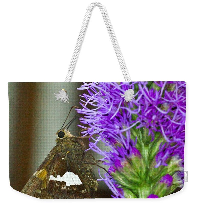 Liatris Weekender Tote Bag featuring the photograph Liatris And Skipper by Douglas Barnett