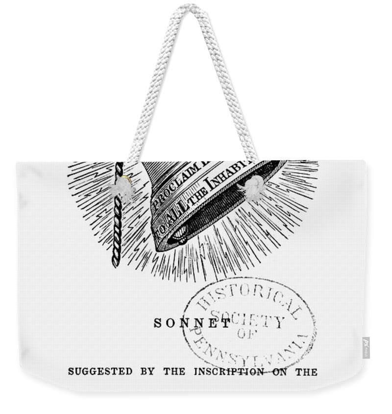 1830s Weekender Tote Bag featuring the photograph Liberty Bell, 1839 by Granger