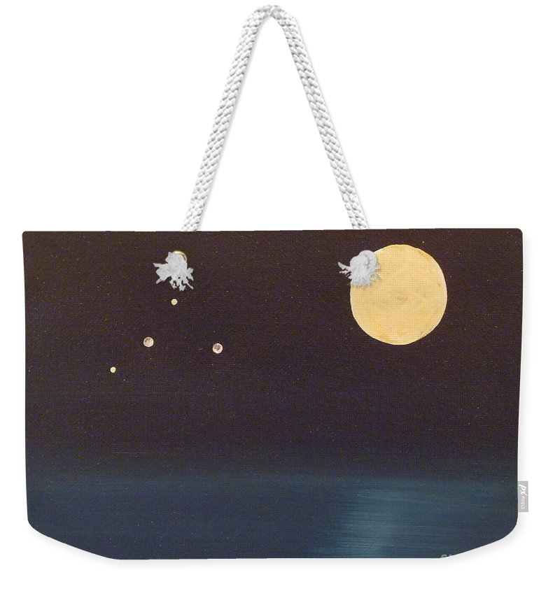 Mixed Media Weekender Tote Bag featuring the painting Libra by Alys Caviness-Gober