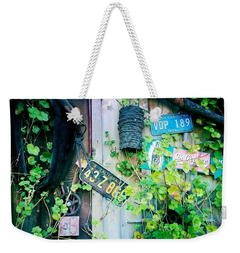 License Plate Weekender Tote Bag featuring the photograph License Plate Wall by Nina Prommer