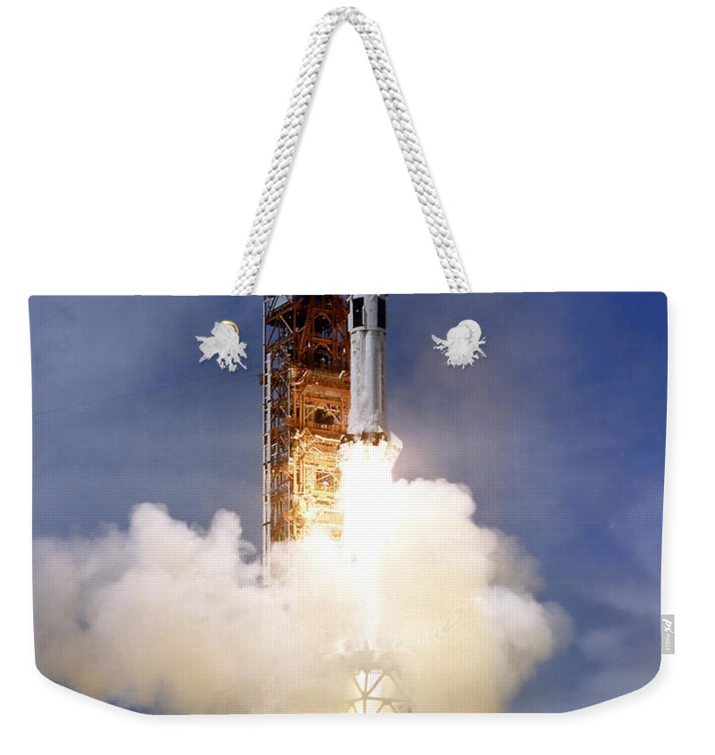 Apollo-soyuz Weekender Tote Bag featuring the photograph Liftoff Of The Saturn Ib Launch Vehicle by Stocktrek Images