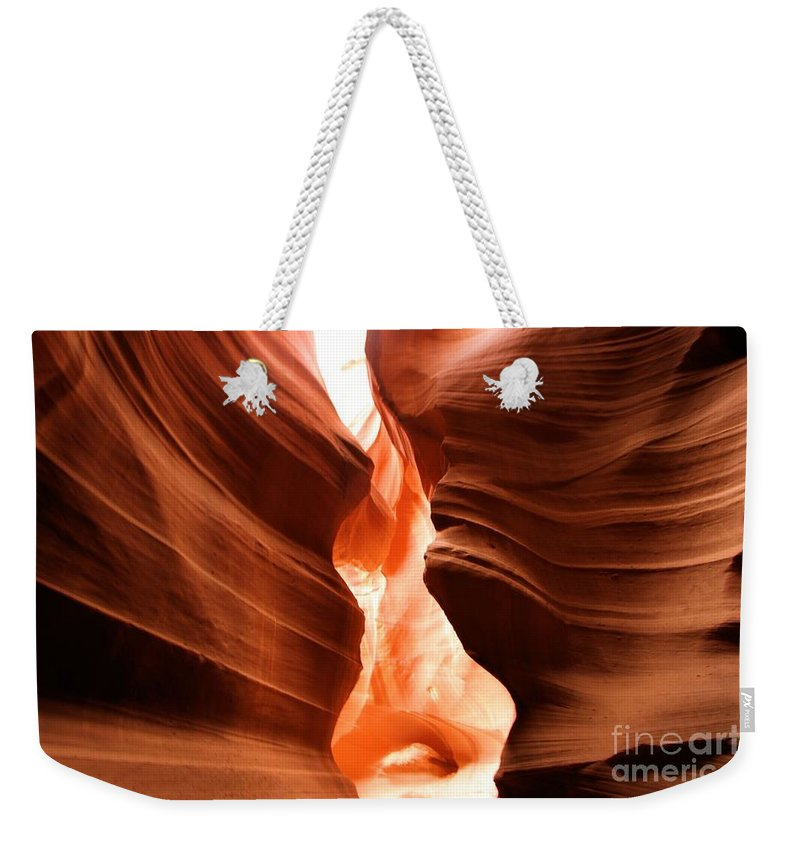 Antelope Canyon Weekender Tote Bag featuring the photograph Light Through The Swirls by Adam Jewell