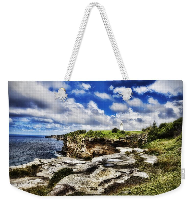 Lighthouse Weekender Tote Bag featuring the photograph Lighthouse At Watson Bay by Douglas Barnard