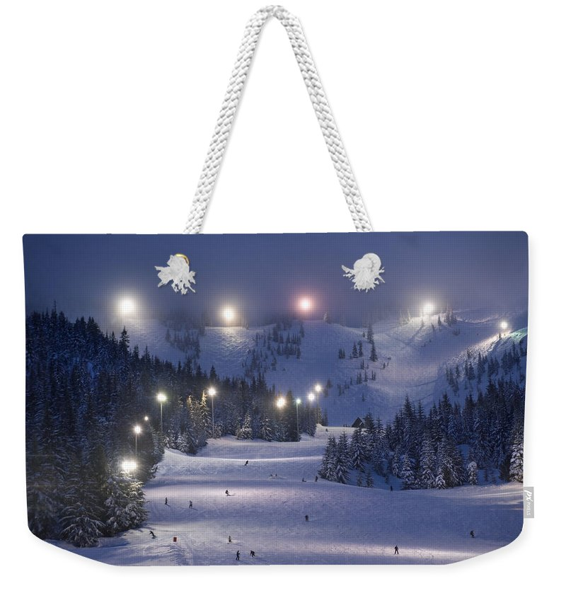 Outdoors Weekender Tote Bag featuring the photograph Lighting Over The Mt. Hood Skibowl by Jim Richardson