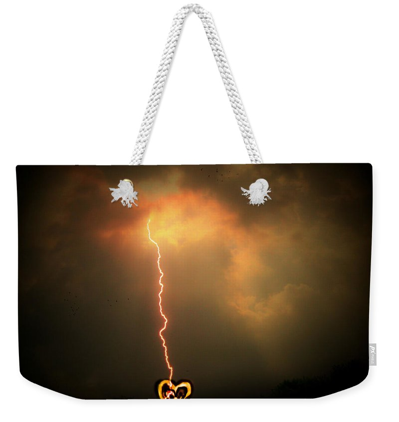 Lightning Weekender Tote Bag featuring the photograph Lightning Strikes The Heart by Trish Tritz