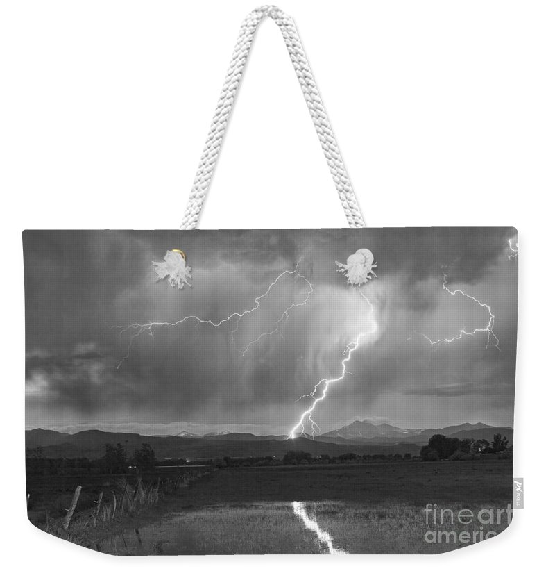 Awesome Weekender Tote Bag featuring the photograph Lightning Striking Longs Peak Foothills 2bw by James BO Insogna