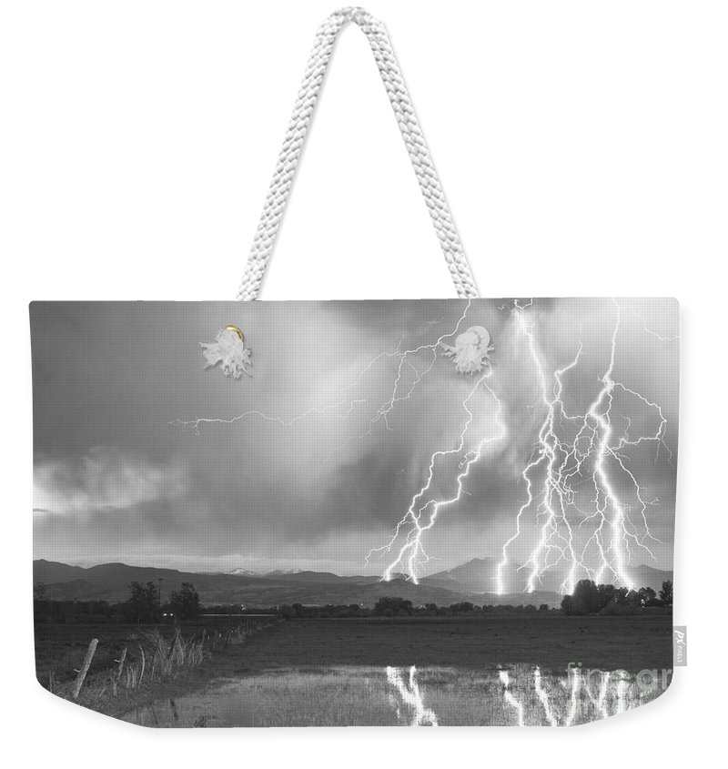 Lightning Weekender Tote Bag featuring the photograph Lightning Striking Longs Peak Foothills 4bw by James BO Insogna