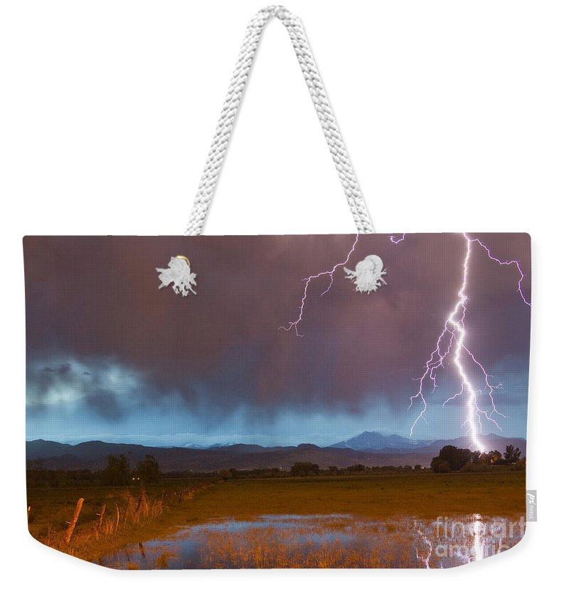 Decorative Weekender Tote Bag featuring the photograph Lightning Striking Longs Peak Foothills 5 by James BO Insogna