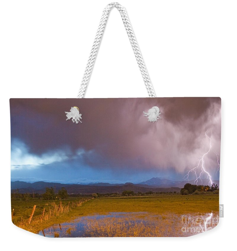 Awesome Weekender Tote Bag featuring the photograph Lightning Striking Longs Peak Foothills 7 by James BO Insogna
