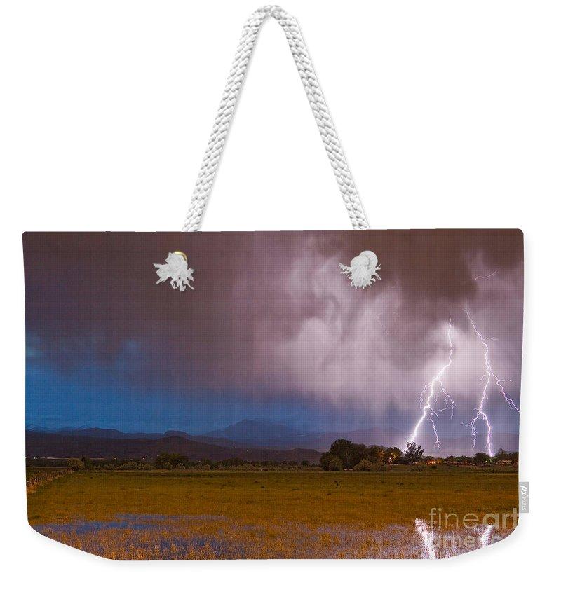 Lightning Weekender Tote Bag featuring the photograph Lightning Striking Longs Peak Foothills 8 by James BO Insogna