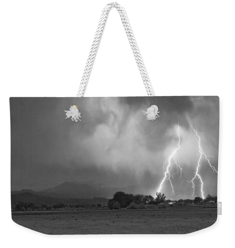 Awesome Weekender Tote Bag featuring the photograph Lightning Striking Longs Peak Foothills 8cbw by James BO Insogna