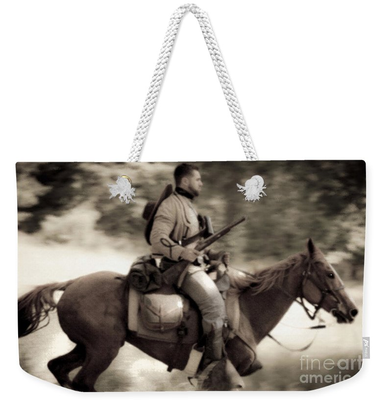 Reenactments Weekender Tote Bag featuring the mixed media Like The Wind by Kim Henderson