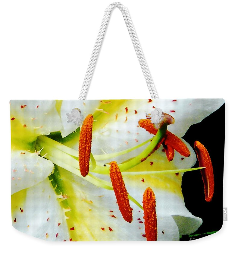 Flower Weekender Tote Bag featuring the photograph Lily by Lizi Beard-Ward