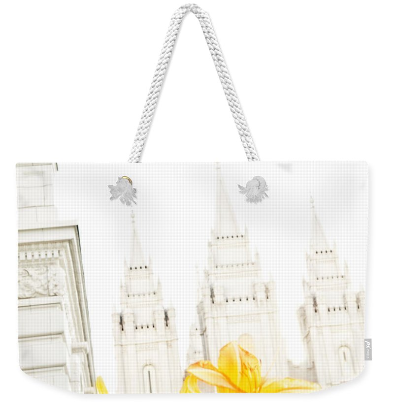 Temples Weekender Tote Bag featuring the photograph Lily Temple Funky by La Rae Roberts