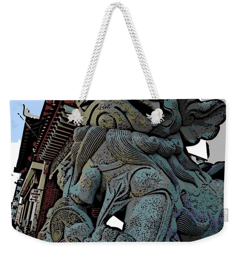 Foo Dog Weekender Tote Bag featuring the photograph Lion Of Buddha by George Pedro