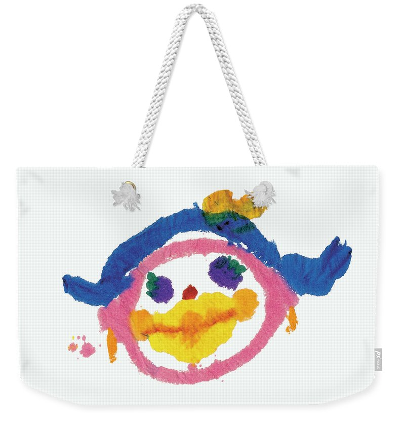 People Weekender Tote Bag featuring the painting Lipstick Face by Jessie Abrams Age Six