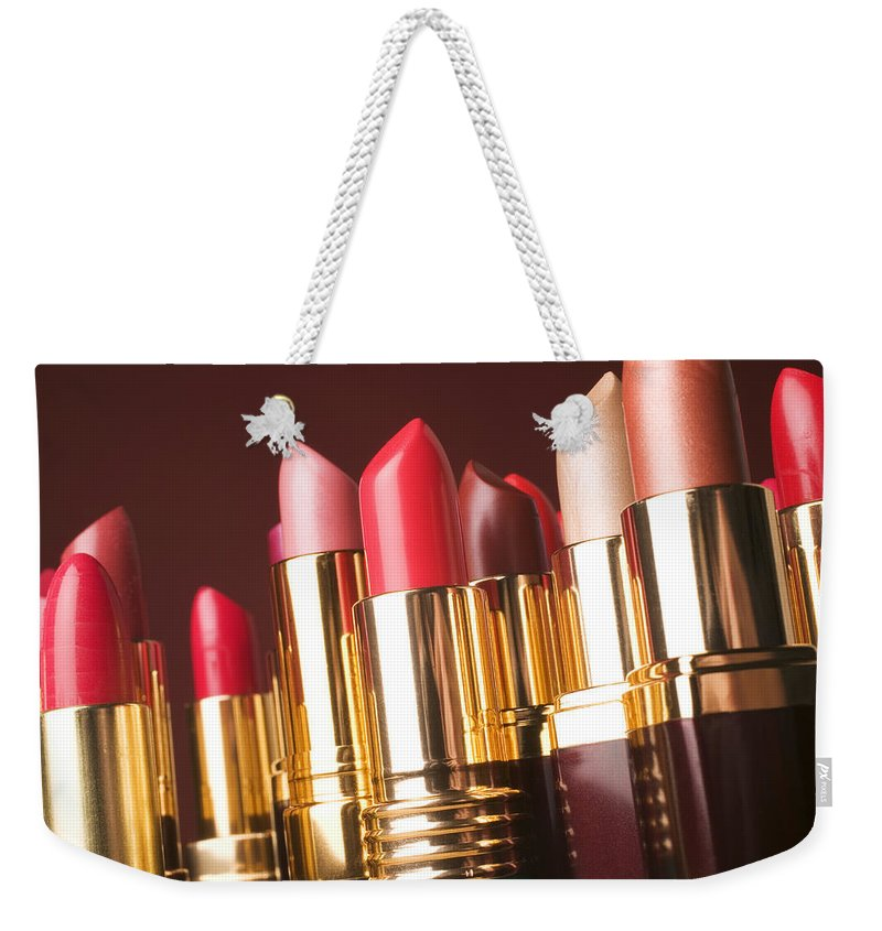 Lipstick Weekender Tote Bag featuring the photograph Lipstick Tubes by Garry Gay