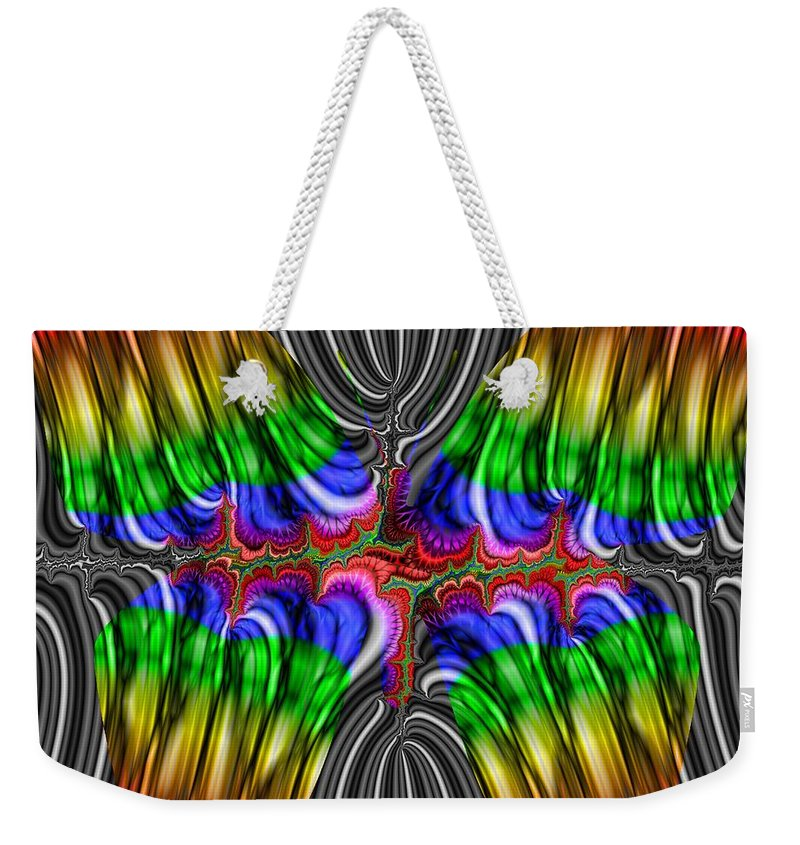 Abstract Weekender Tote Bag featuring the digital art Liquid Metal Butterfly by Christy Leigh