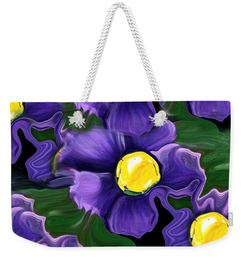 Liquid Violets Weekender Tote Bag featuring the painting Liquid Violets by Barbara Griffin