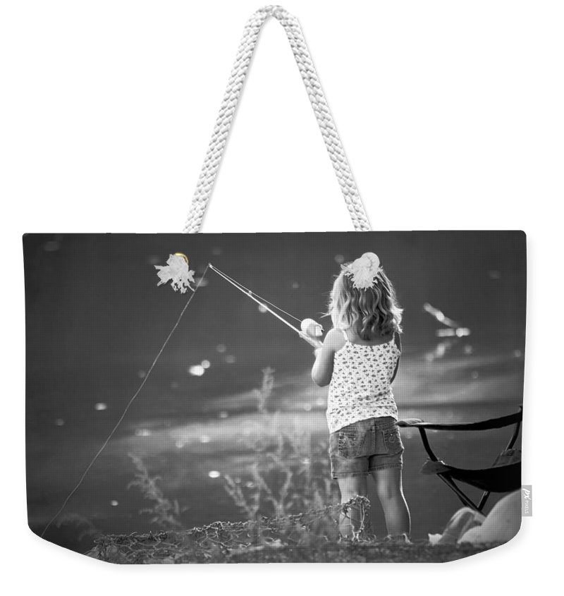 2d Weekender Tote Bag featuring the photograph Little Fishing Girl by Brian Wallace