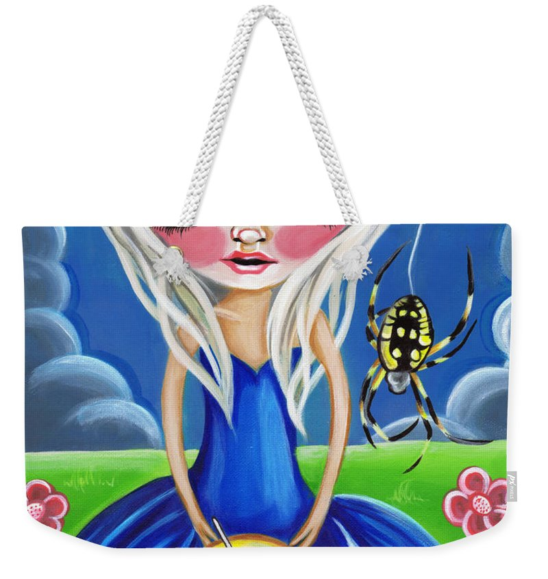 Little Weekender Tote Bag featuring the painting Little Miss Muffet by Jaz Higgins