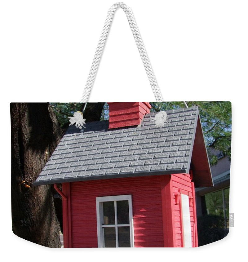 Birdhouse Weekender Tote Bag featuring the photograph Little Red Birdhouse by Mary Deal