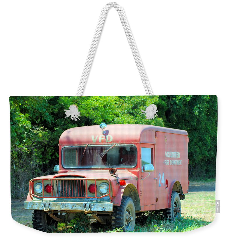 Fire Weekender Tote Bag featuring the photograph Little Red Firetruck by Karen Wagner